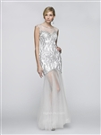 BG Haute Prom by Scala G3110 Sequin Burnout Illusion Dress  Colors: White/Silver,4, 6 Pink Rose Sizes 6