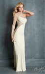 Night Moves 7070 Geometric One Shoulder Dress Colors: Black, Champagne • Sizes 2, 4
