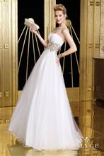 Alyce Prom white & Gold sz 14