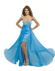 Blush prom Flowy Chiffon High-Low dress Blue sz 4