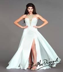 Mac Duggal Flash Prom White & Gold sz 4