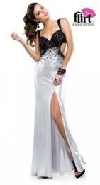 Flirt Prom SEQ Spider Back Black & Silver sz 18