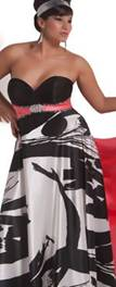 Cassandra Stone 2 Prom Black/White& Coral sz 28